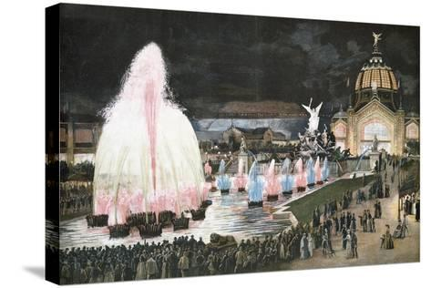 Illuminated Fountain for Paris World Exposition, 1889, France--Stretched Canvas Print