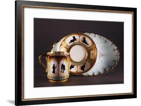 Solitaire with Cup Decorated with Silhouettes in Arcades, Porcelain, France--Framed Art Print