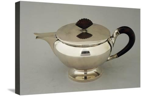 Silver Teapot, Design by Argenteria Fratelli Alignani, Approximately 1935--Stretched Canvas Print