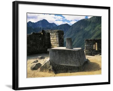 Peru, Urubamba Valley, Inca Civilization, Machu Picchu, Intihuatana Stone or Solar Calendar--Framed Art Print