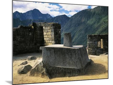Peru, Urubamba Valley, Inca Civilization, Machu Picchu, Intihuatana Stone or Solar Calendar--Mounted Giclee Print
