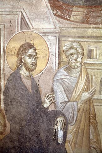 Serbia, Kosovo, Pristina Portraying Christ and Saint Peter in Gracanica Monastery--Stretched Canvas Print