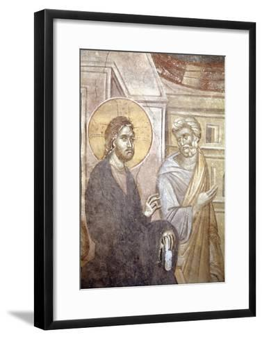 Serbia, Kosovo, Pristina Portraying Christ and Saint Peter in Gracanica Monastery--Framed Art Print