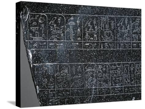 Detail of Ancient Egyptian Stele Inscribed on Both Sides with List of Ancient Egyptian Kings--Stretched Canvas Print