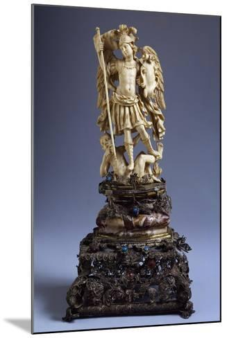 Statue of St Michael, Ivory, Italy--Mounted Giclee Print