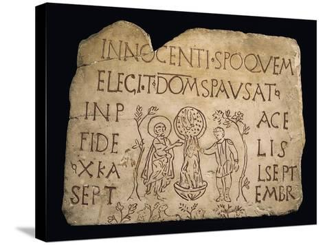 Tombstone with Inscription and the Baptism of Christ, Early Christian Period, 3rd Century--Stretched Canvas Print