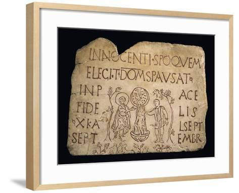 Tombstone with Inscription and the Baptism of Christ, Early Christian Period, 3rd Century--Framed Art Print