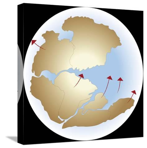 Diagram Showing Earths Continental Drift with Fragmented Pangea--Stretched Canvas Print