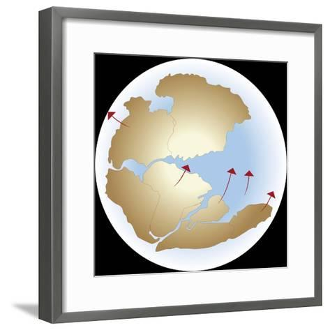 Diagram Showing Earths Continental Drift with Fragmented Pangea--Framed Art Print