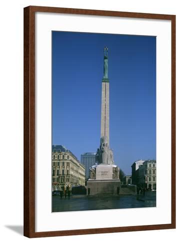 Latvia, Riga, Historic Centre, Freedom Memorial--Framed Art Print