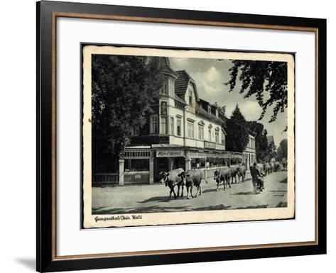 Georgenthal Thüringer Wald, Kühe Auf Der Straße, Konditorei--Framed Art Print
