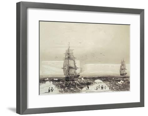 Astrolabe and Zelee Ships Arriving in Adelie Land During Dumont D'Urville's Expedition in Antarctic--Framed Art Print