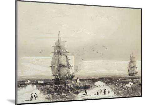 Astrolabe and Zelee Ships Arriving in Adelie Land During Dumont D'Urville's Expedition in Antarctic--Mounted Giclee Print