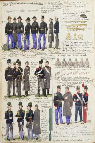 Uniforms and Badges of Provisional Government of Tuscany--Stretched Canvas Print