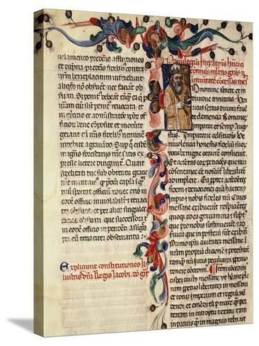 Miniature of Privileges Bestowed by the King on the City Palermo, Manuscript, 14th-15th Century--Stretched Canvas Print