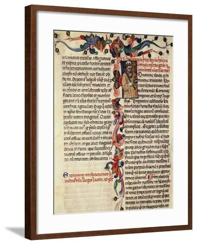 Miniature of Privileges Bestowed by the King on the City Palermo, Manuscript, 14th-15th Century--Framed Art Print
