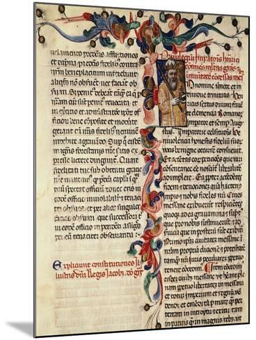 Miniature of Privileges Bestowed by the King on the City Palermo, Manuscript, 14th-15th Century--Mounted Giclee Print