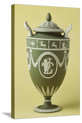 Urn, Green Stoneware, Wedgwood Manufacture, Staffordshire, England--Stretched Canvas Print