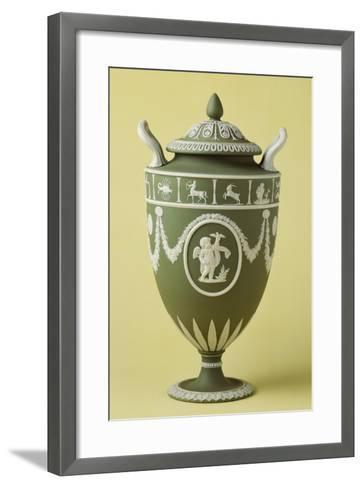 Urn, Green Stoneware, Wedgwood Manufacture, Staffordshire, England--Framed Art Print
