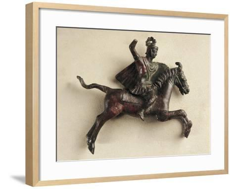 France, Orange, Knight Riding a Horse, Bronze--Framed Art Print