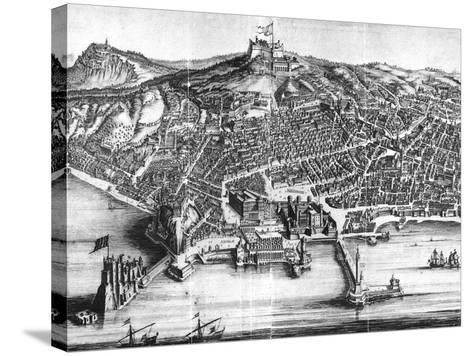 Italy, Naples, Map and Front View with Castel Nuovo--Stretched Canvas Print