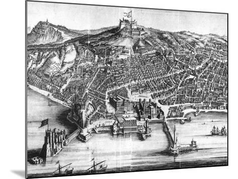 Italy, Naples, Map and Front View with Castel Nuovo--Mounted Giclee Print