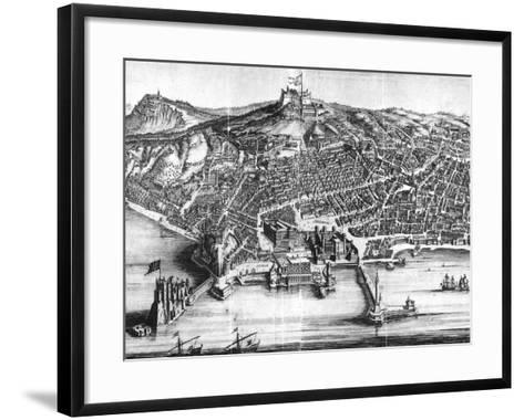 Italy, Naples, Map and Front View with Castel Nuovo--Framed Art Print