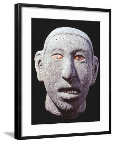 Stone Head of a Man with Eyes and Teeth of Shell, Artifact Originating from Mexico--Framed Art Print