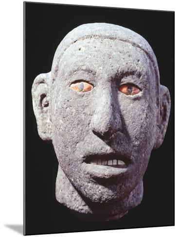 Stone Head of a Man with Eyes and Teeth of Shell, Artifact Originating from Mexico--Mounted Giclee Print