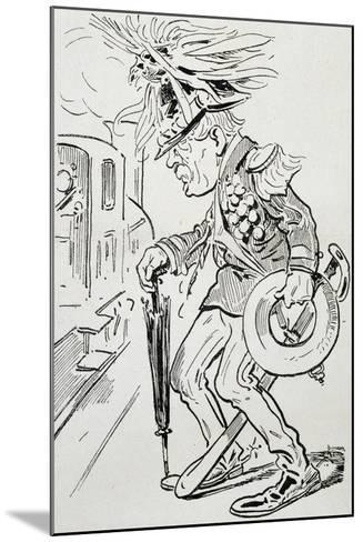 New Cousin, Satirical Cartoon from L'Uomo Di Pietra Magazine, July 4, 1903, Italy--Mounted Giclee Print