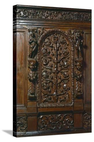 Central Compartment of Walnut Sacristy Sideboard, Italy, Detail--Stretched Canvas Print