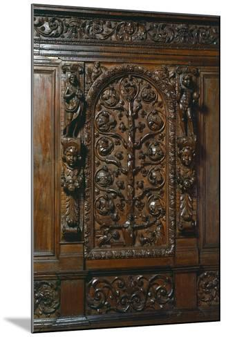 Central Compartment of Walnut Sacristy Sideboard, Italy, Detail--Mounted Giclee Print
