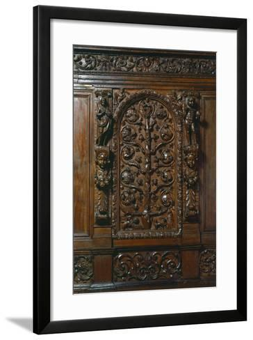 Central Compartment of Walnut Sacristy Sideboard, Italy, Detail--Framed Art Print