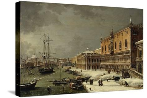 Italy, Trieste, Snow and Fog in Venice--Stretched Canvas Print
