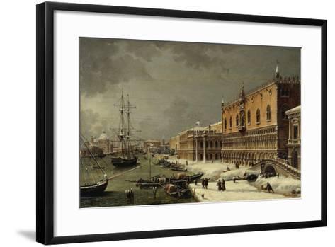 Italy, Trieste, Snow and Fog in Venice--Framed Art Print