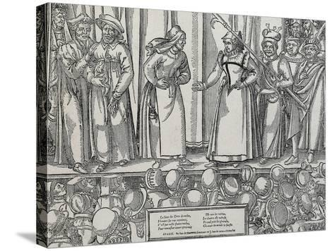 Performance of Farce in Parisian Theatre, 16th Century--Stretched Canvas Print