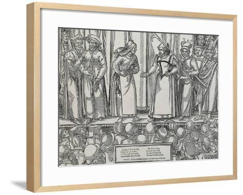 Performance of Farce in Parisian Theatre, 16th Century--Framed Art Print