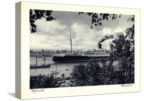 Bremen Vegesack, Dampfer Auf Der Weser--Stretched Canvas Print