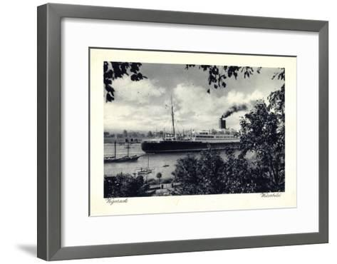Bremen Vegesack, Dampfer Auf Der Weser--Framed Art Print