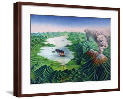 Mexico, Reconstruction of the Geological Formations of the Valley of Mexico and its Volcanoes--Framed Art Print