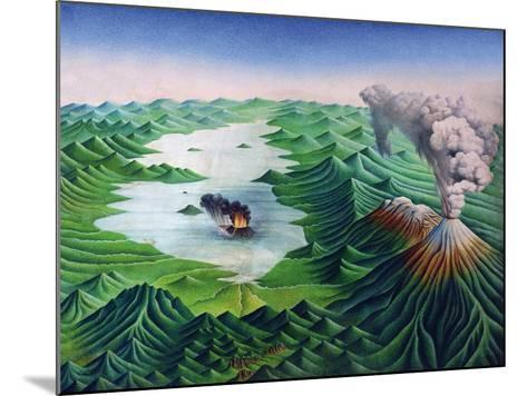 Mexico, Reconstruction of the Geological Formations of the Valley of Mexico and its Volcanoes--Mounted Giclee Print