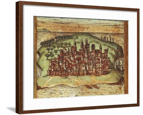 Map of Mombasa, Kenya, from Civitates Orbis Terrarum by Georg Braun and Franz Hogenberg--Framed Art Print