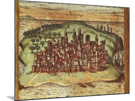 Map of Mombasa, Kenya, from Civitates Orbis Terrarum by Georg Braun and Franz Hogenberg--Mounted Giclee Print