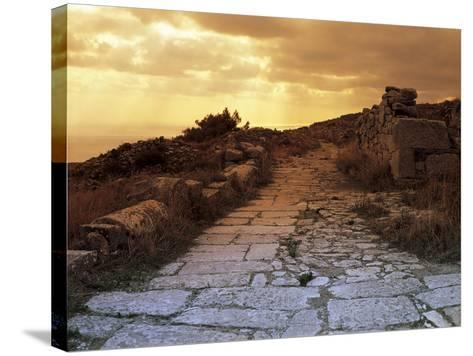 High Angle View of the Sacred Way, Ancient Thera, Santorini, Cyclades Islands, Southern Aegean--Stretched Canvas Print