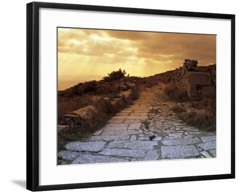 High Angle View of the Sacred Way, Ancient Thera, Santorini, Cyclades Islands, Southern Aegean--Framed Art Print