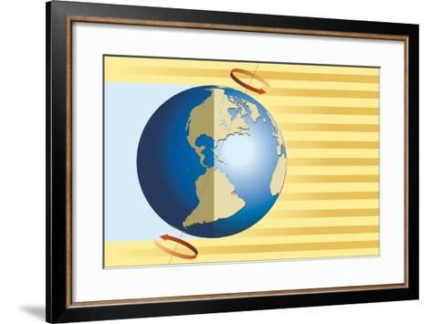 Diagram of Terrestrial Rotation of Earth Causing Alternation of Night and Day--Framed Art Print