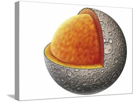 Diagram of Mercury Interior Structure Showing Crust, Mantle and Large Iron Core--Stretched Canvas Print