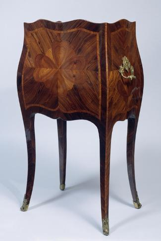 Louis XV Style Genoese Bedside Table in Madagascar Rosewood and Kingwood Ca 1750, Italy, Rear View--Stretched Canvas Print