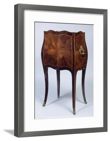 Louis XV Style Genoese Bedside Table in Madagascar Rosewood and Kingwood Ca 1750, Italy, Rear View--Framed Art Print