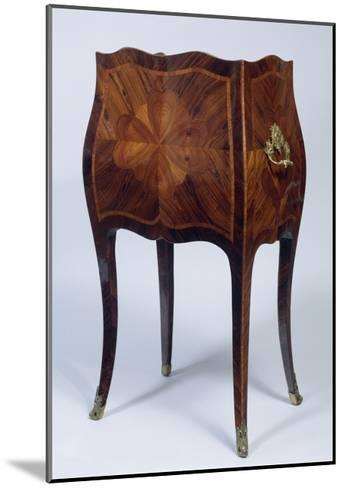 Louis XV Style Genoese Bedside Table in Madagascar Rosewood and Kingwood Ca 1750, Italy, Rear View--Mounted Giclee Print